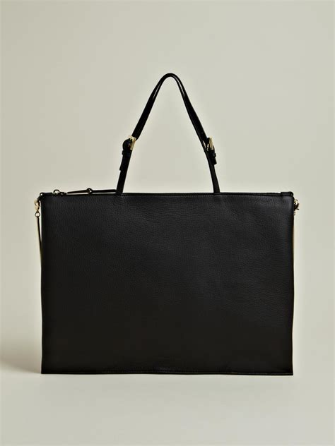 Jil Sander 2007 Bags by Jil Sander Womens Flat Muliphen Leather Bag In Black Lyst