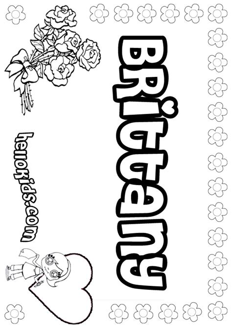 girls name coloring pages brittany girly name to color