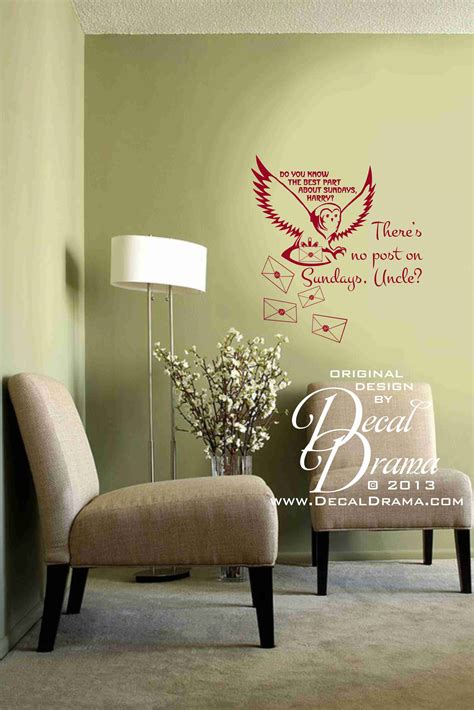 harry potter wall stickers no post on sundays with owl and hogwart s letters graphic