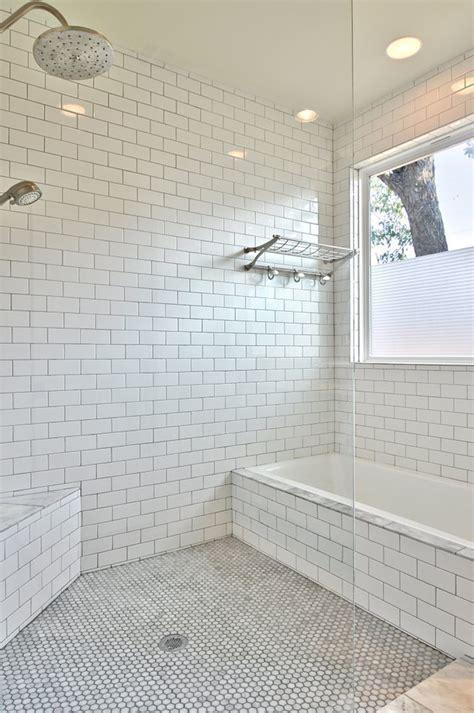 shower subway tile Bathroom Transitional with corner bench