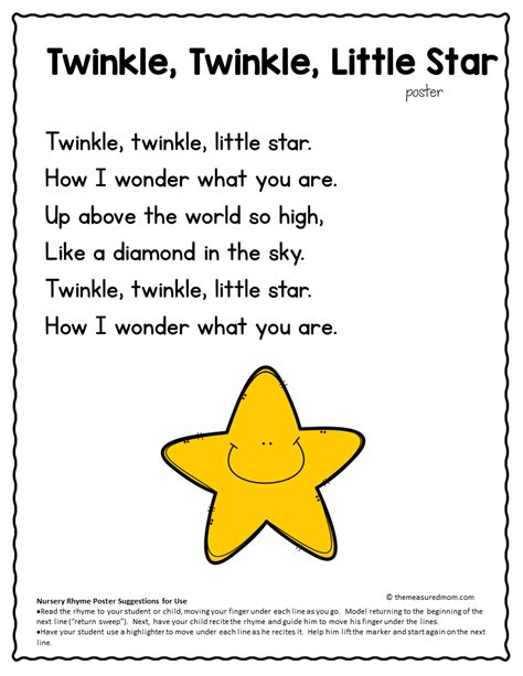 twinkle twinkle little star 0785326936 nursery rhyme concepts of print pack the measured mom