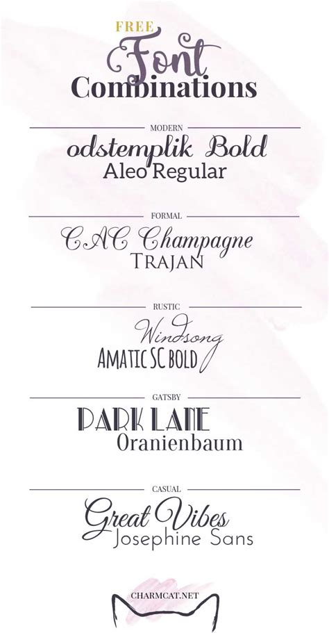 Wedding Invitation Font Combinations by Five Great Free Font Combinations For Invitations Charmcat