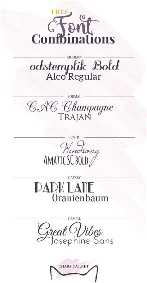 Five Great Free Font Combinations for Invitations