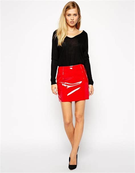 patent leather skirt dress ala
