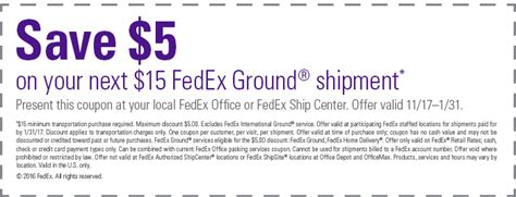 Fedex Office Coupon Code by Fedex Ground 5 15 Ground Shipment Printable Coupon
