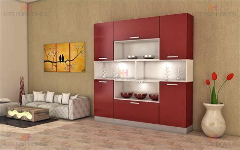 Crockery unit in mdf and shutters in high gloss acrylic finish modern crockery units
