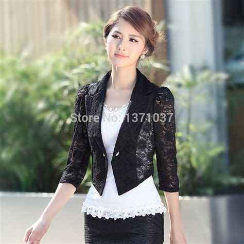 Top Orange Black Lace Fit Size S new fashion sheer lace slim fit top black and white blouse jacket shirt plus size xl 4xl