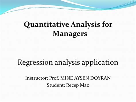 Quantitative Analysis Book For Mba by Recep Maz Msb 701 Quantitative Analysis For Managers