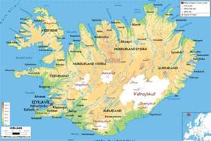 large detailed physical map of iceland with all roads