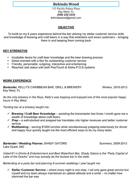 bartending resume example unforgettable bartender resume examples