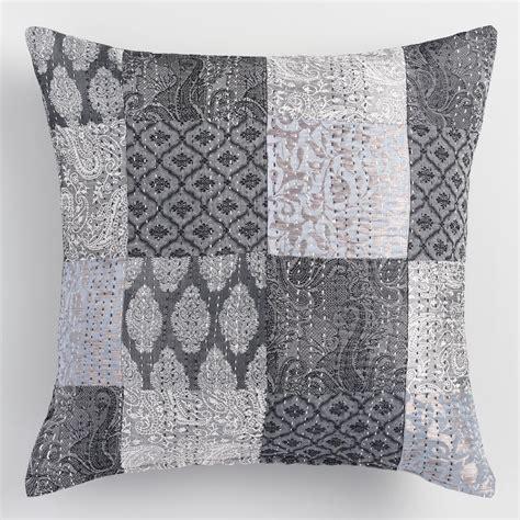 Gray Throw Pillows Gray Brocket Patchwork Throw Pillow World Market