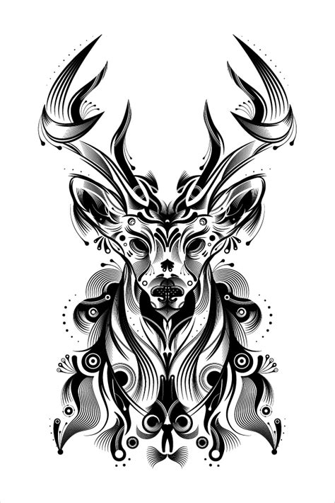vector illustration of a stylish how to create a stylish deer with brushes and graphic