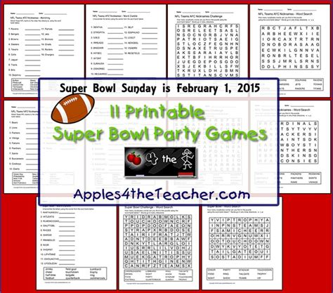 printable bowl games 39 best images about super bowl sunday party ideas on