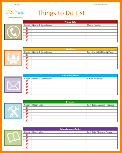 template of to do list template list of things to do template