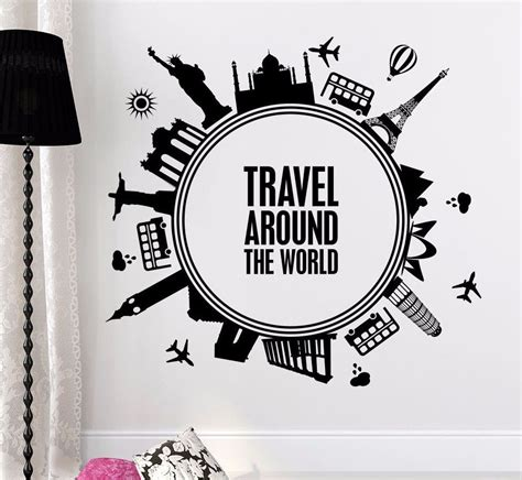 vinyl decals for home decor quotes wall decals travel around the world decal nursery