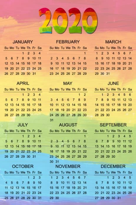 calendar poster template postermywall