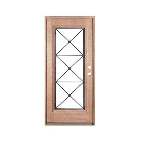 Unfinished Wood Exterior Doors Exclusive Wood Doors 36 In X 80 In Operable Decorative Wrought Iron Unfinished Mahogany Left