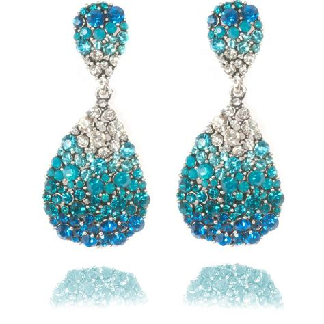 Selling Home Decor Products by Crystal Oval Earrings Blue Oval Earrings Lemonade Earrings