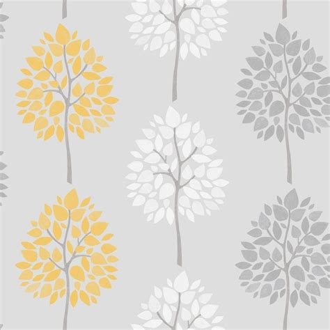 Fine decor riva tree wallpaper yellow white grey fd41594 wallpaper from i love wallpaper uk