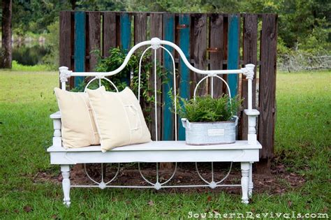 diy bed bench diy repurposed metal headboard bench southern revivals