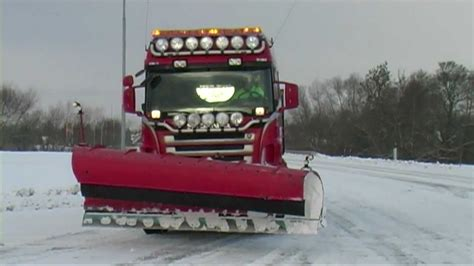 winter december   snow plowing  scania truck  volvo wheel loaders youtube