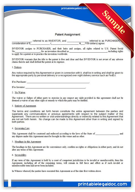 patent assignment form free printable patent assignment form generic