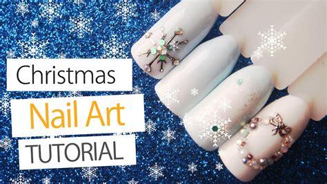 nail art rhinestones tutorial christmas nail art tutorial easy snowflake nails with