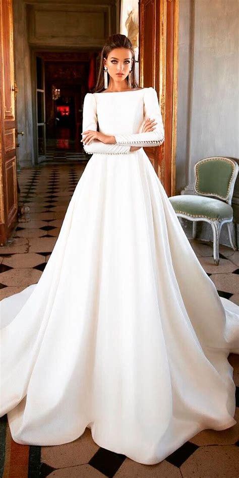 bridal dresses   classic simple  long sleeves