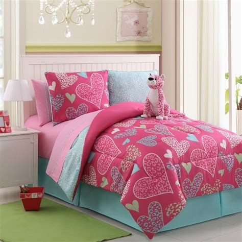 heart bedding 7 9pc pink heart w leopard print kid s reversible