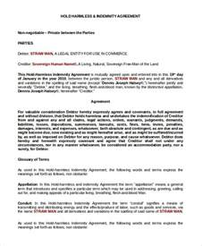 sample hold harmless agreement 9 examples in pdf word