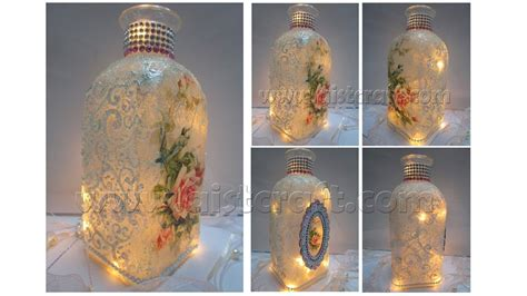 tutorial decoupage botol decoupage tutorial vintage glass bottle art youtube