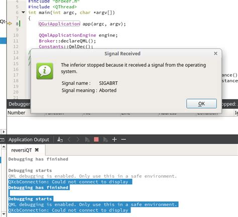 qt programming stack overflow c running application from qt creator give an error
