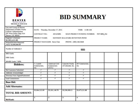 contract summary template 9 bid summary templates free premium templates