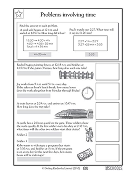 4th grade math worksheets problems involving time