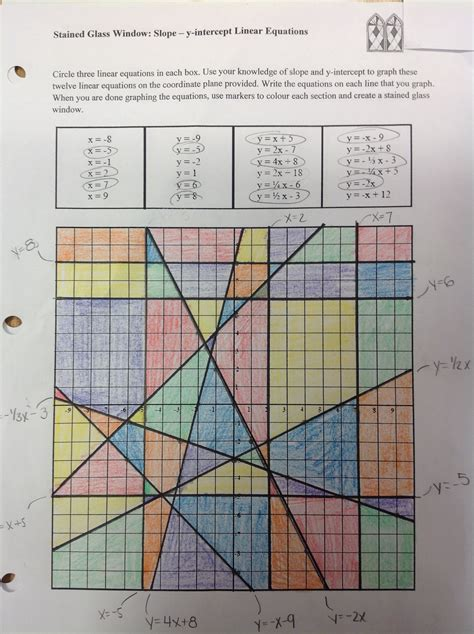 Stained Glass Window Worksheet by Linear Equations And Graphs Activities