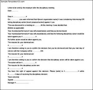 Disciplinary Template by Letter Of Employee Disciplinary Meeting Template