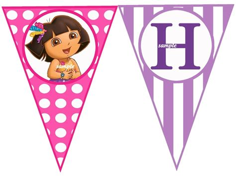 Printable Dora Birthday Banner | dora the explorer happy birthday banner by thatpartychick