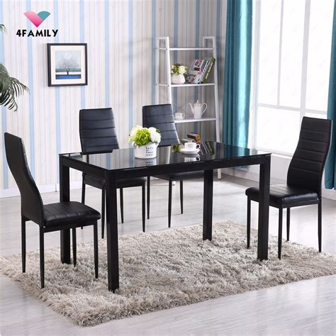 5 glass metal dining table set 4 chairs kitchen room