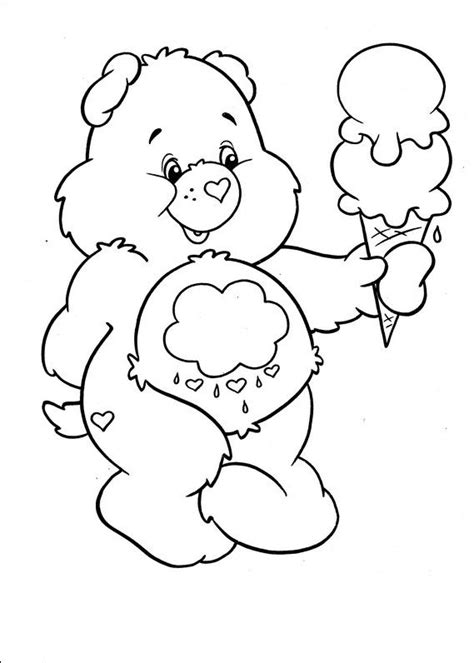 care bears coloring page care bears with ice cream