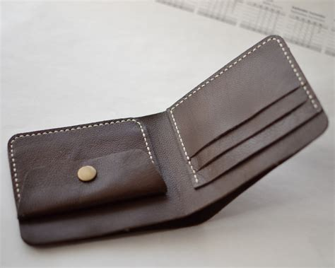 Handmade Leather Wallet - handmade wallet mens leather wallet sewing bifold wallet