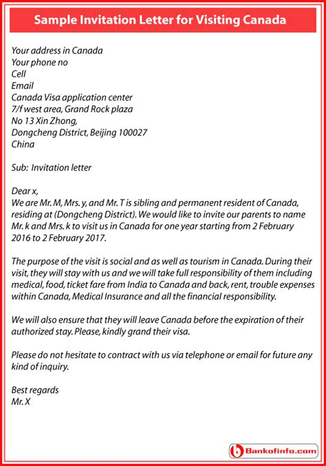 Letter Of Invitation From Canada Template For Invitation Letter To Visit Canada Orax Info