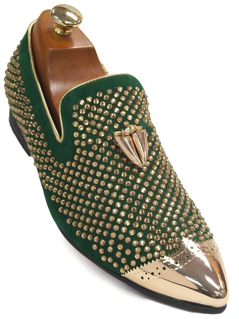 Shoe Bling by Fiesso Green Suede Gold Bling Rhinestone Metal Toe