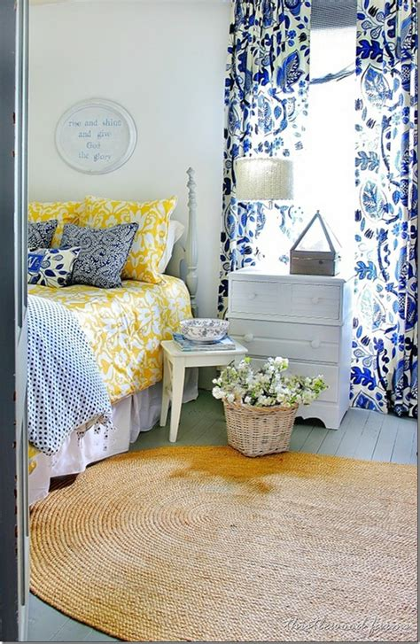 yellow and blue bedroom blue and yellow farmhouse bedroom thistlewood farm