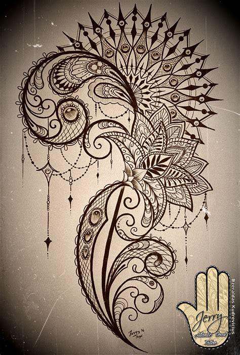 tattoo mandala style mandala and lace thigh tattoo idea design with lotus