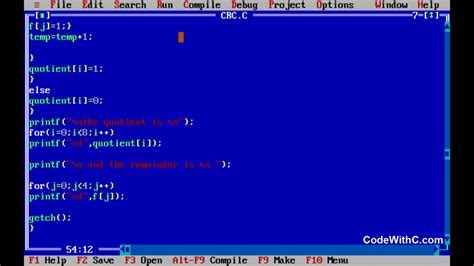 simple number pattern programs in c c program cyclic redundancy check crc code with c