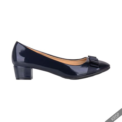 flat shoes office womens block heel bow patent court pumps office