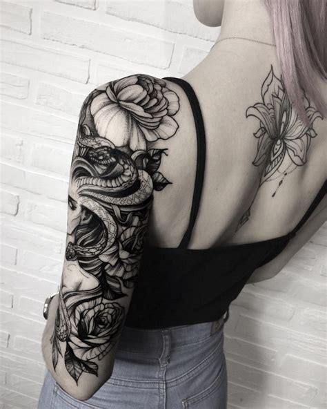 tattoo pictures sleeves snake woman sleeve tattoo idea snake tattoos pinterest