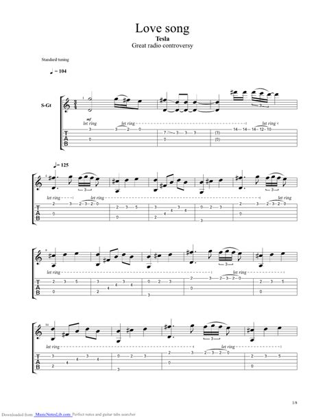 Tesla The Song Song Guitar Pro Tab By Tesla Musicnoteslib