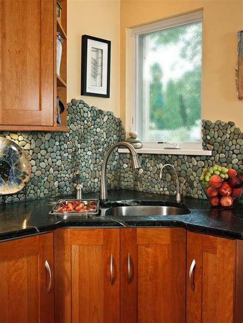 river rock tile backsplash my new house