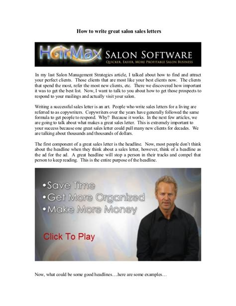 Sle Letter For Spa Business How To Write Great Salon Sales Letters